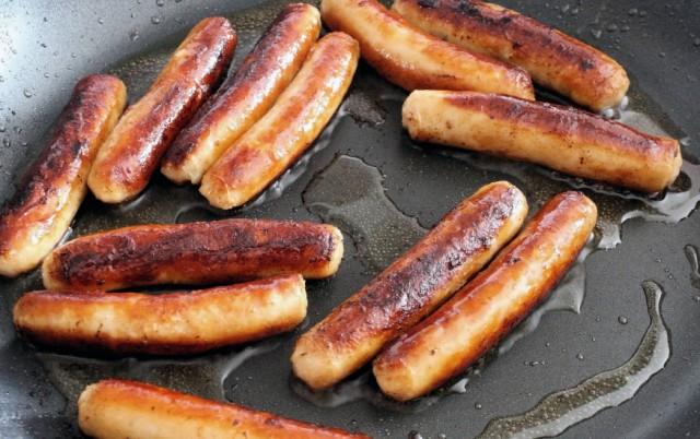 Sausage, frying pan, skillet