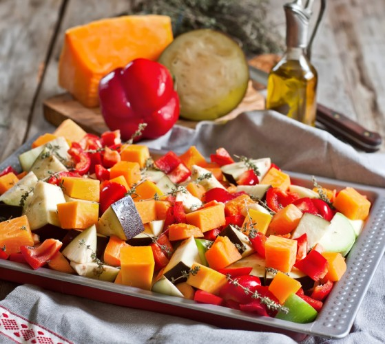 Roasted vegetables, cooking, squash