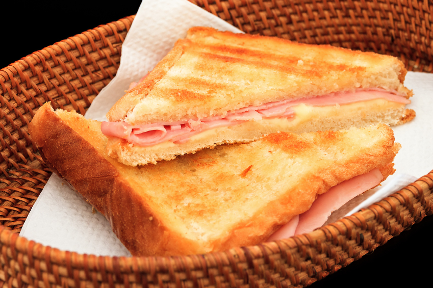 ... Grilled Ham and Gouda Sandwiches with Frisée and Caramelized Onions