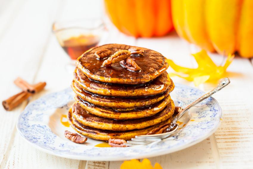 Pumpkin pancakes, pecans