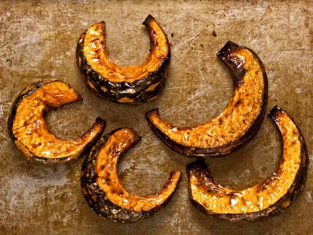 roasted squash slices, pumpkins