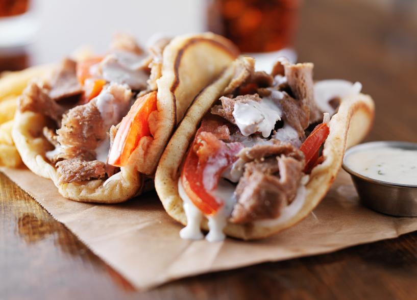 greek gyros with tzatziki sauce and fries