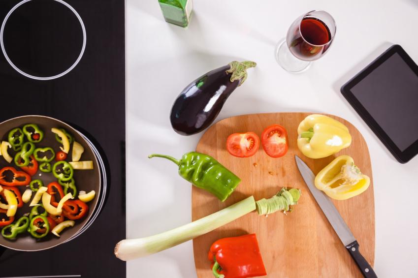 Chopping veggies for dinner