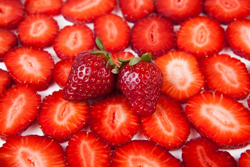 Strawberry slices, strawberries