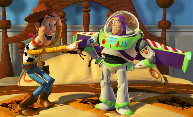 Woody points and laughs at Buzz Lightyear in Toy Story
