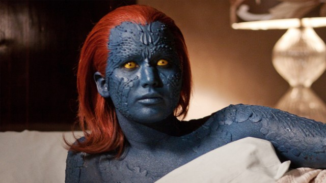 Jennifer Lawrence's Mystique lays under a bed sheet in X-Men: First Class