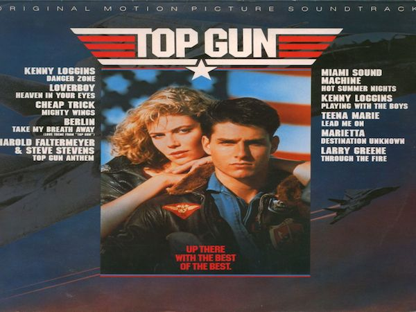 Tom Cruise and Kelly McGillis on the cover of the Top Gun soundtrack