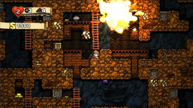 A fortune-seeker in a cave in Spelunky