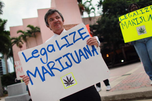 Florida Attorney General candidate Jim Lewis, who is running on a platform of legalizing marijuana, holds a sign during a campaign rally on October 12, 2010 in Fort Lauderdale, Florida (Photo source: Joe Raedle/Getty Images)