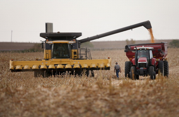 Farmers harvest crops following drought in California.