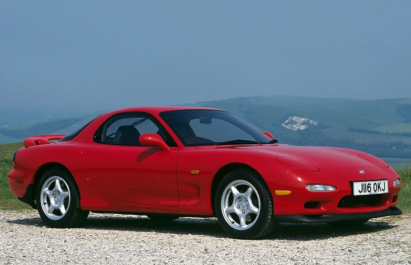 A red Mazda RX-7 from the 1991 model year