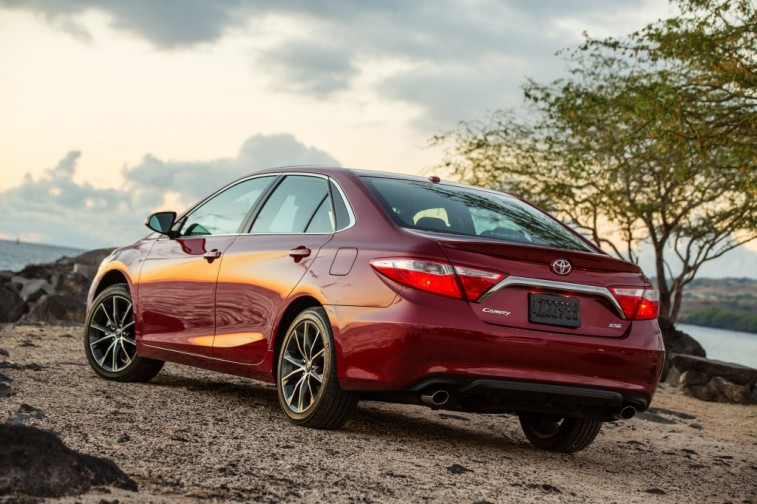 A red 2015 Toyota Camry
