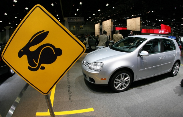 A VW Rabbit is presented at the 100th An