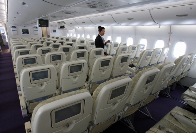 An economy class cabin on the new Airbus
