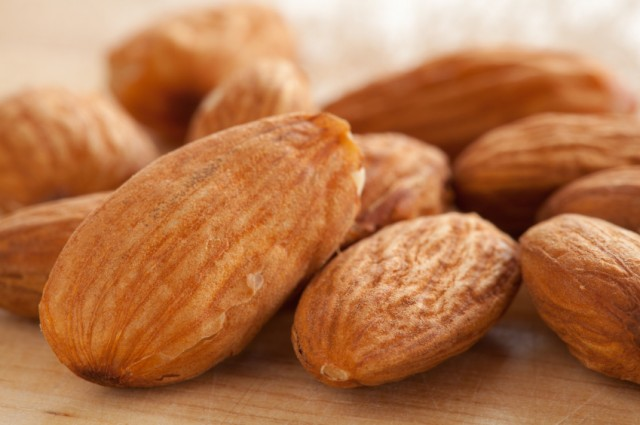 close up view of almonds