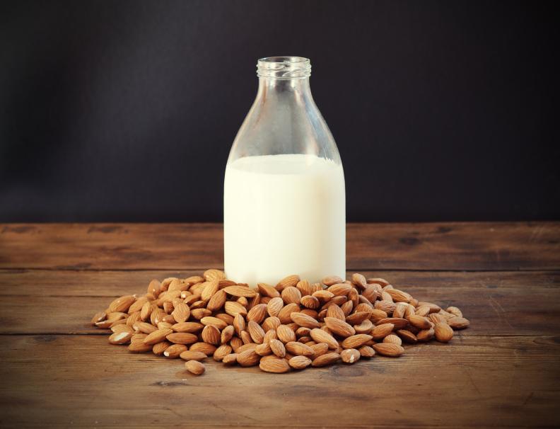 Almond milk, almonds