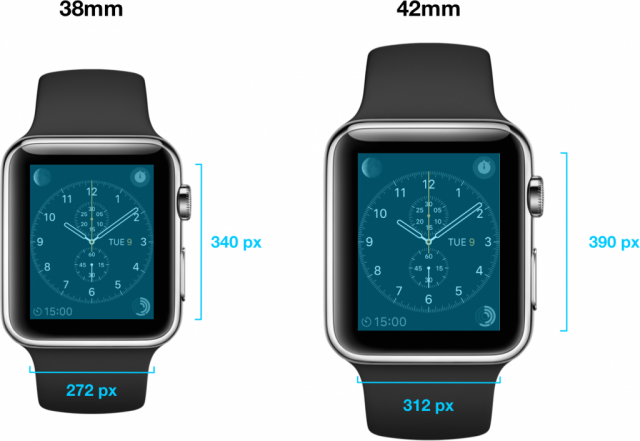 Apple Watch screen sizes and resolutions