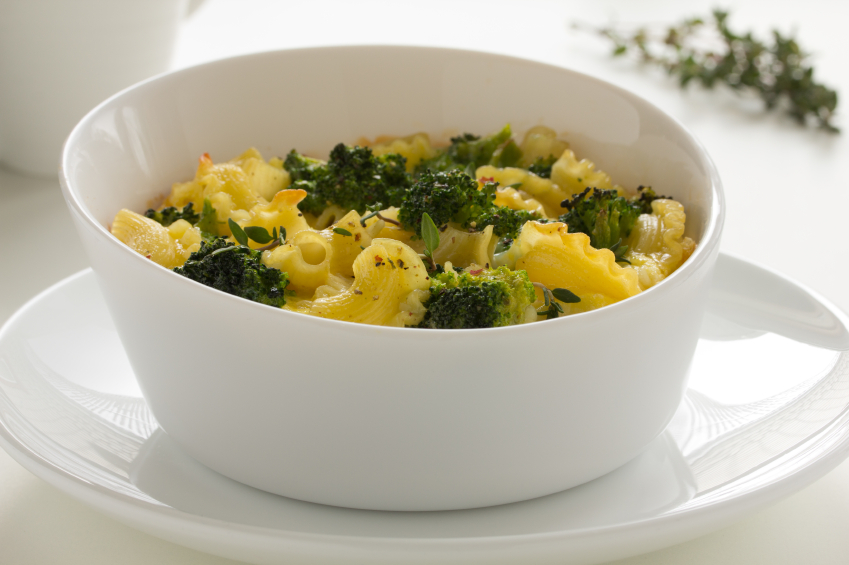 Cheese casserole with pasta and broccoli.