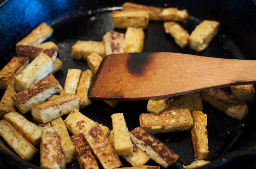 Cooking Tofu, skillet