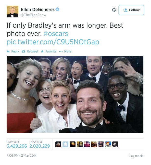 Ellen DeGeneres's selfie tweet with #oscars hashtag