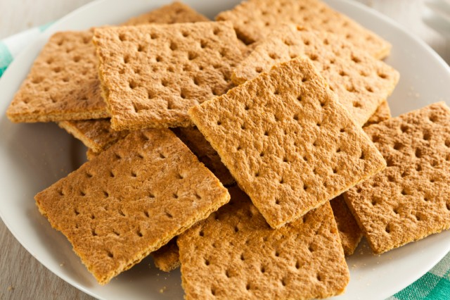 Graham crackers on a white plate.