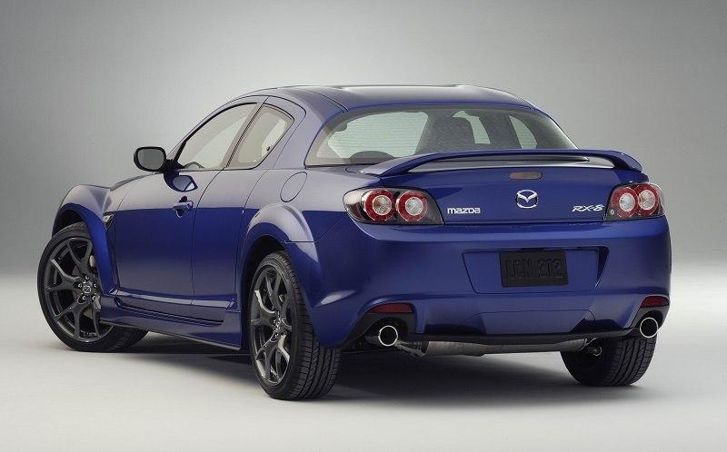 A blue 2009 Mazda RX-8