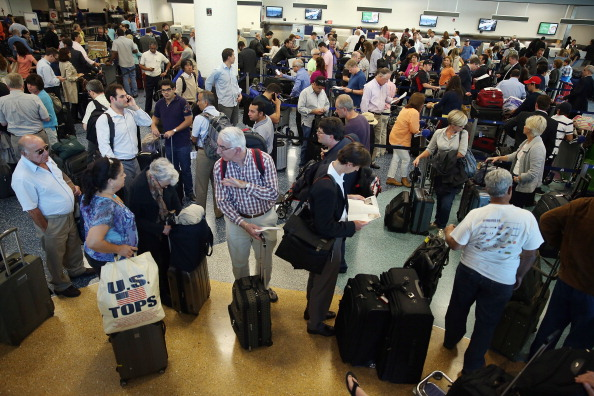 Crowd at an airport
