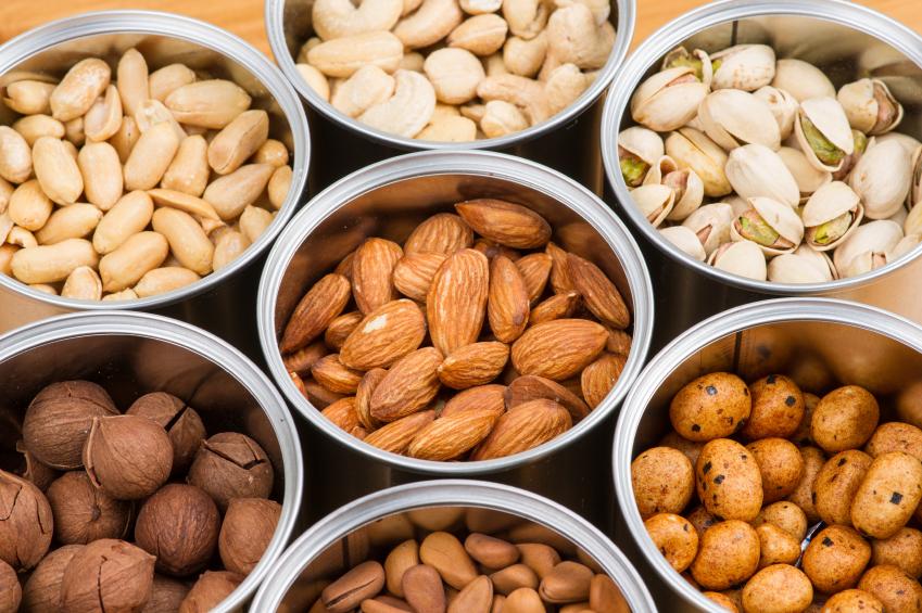 Almonds, walnuts, peanuts, pistachios
