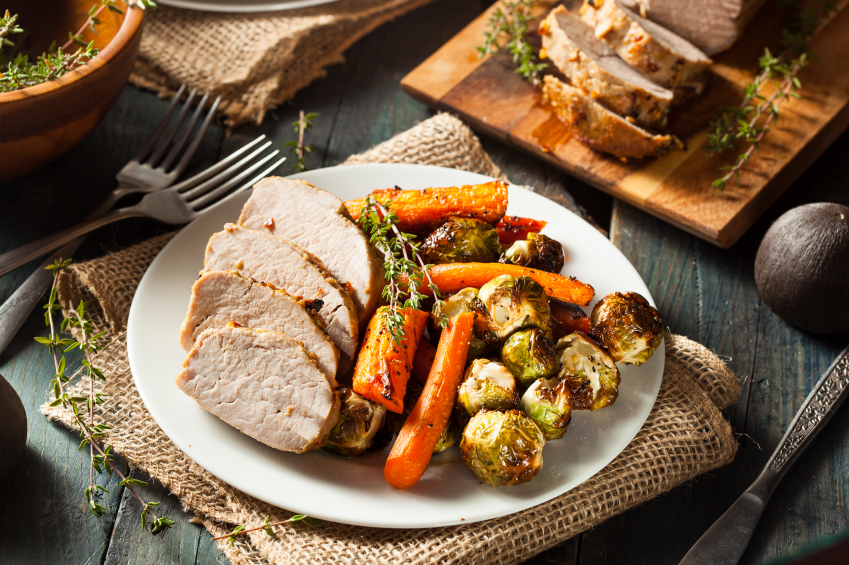 Pork Tenderloin with carrots and Brussels sprouts
