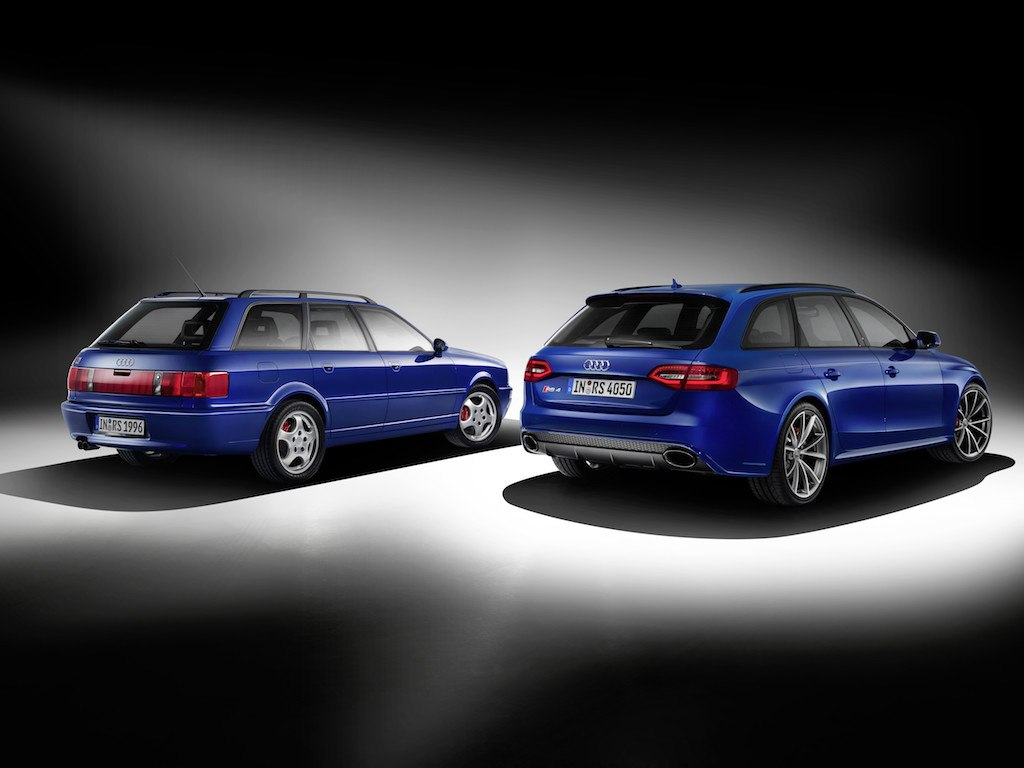 The 1994 Audi RS2 Avant, left, and the 2014 Audi RS4 Avant