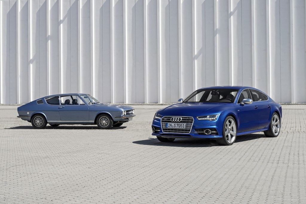 The 1970 Audi 100 Coupe S, left, and the 2017 Audi S7 Sportback