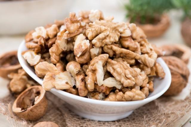 a bowl of walnuts