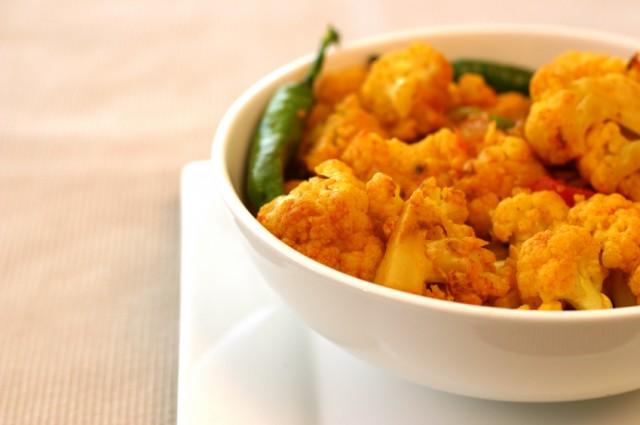 Spiced cauliflower in sauce