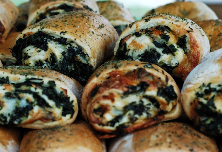 Spinach Calzones, cheese pastry