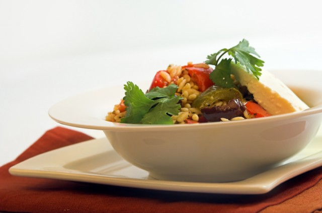 Orzo Salad with feta cheese,olives and peppers