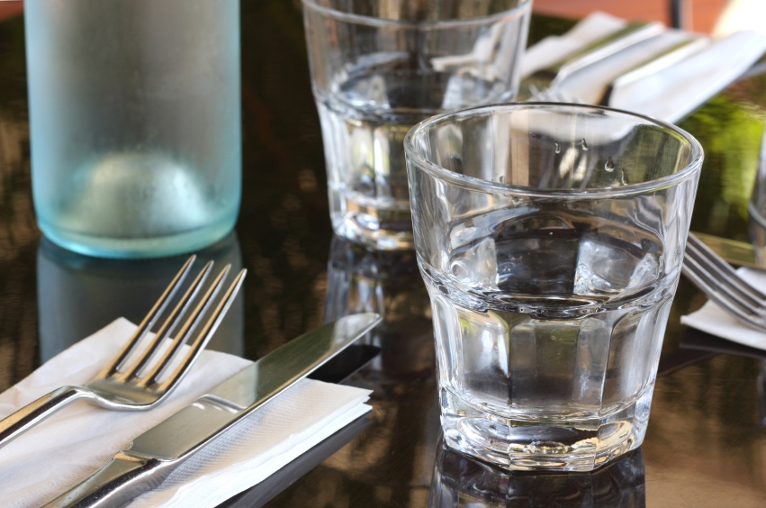 water glass, restaurants