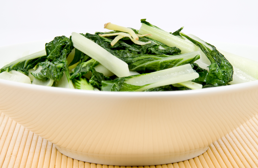 cooked bok choy in bowl