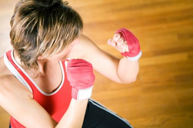 Woman learning self-defense