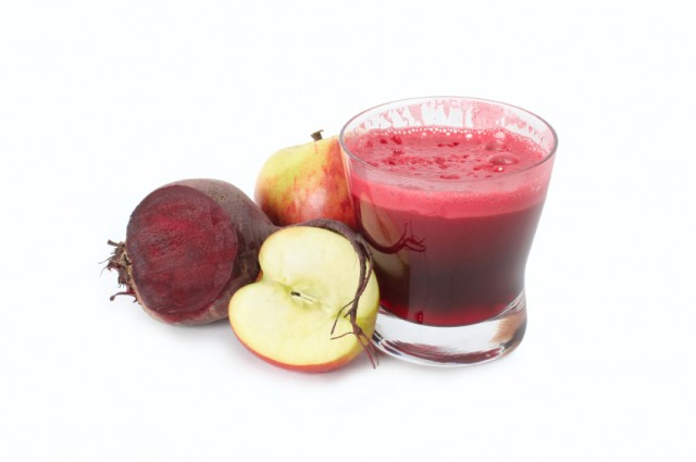 Beet, carrot, apple, and ginger juice
