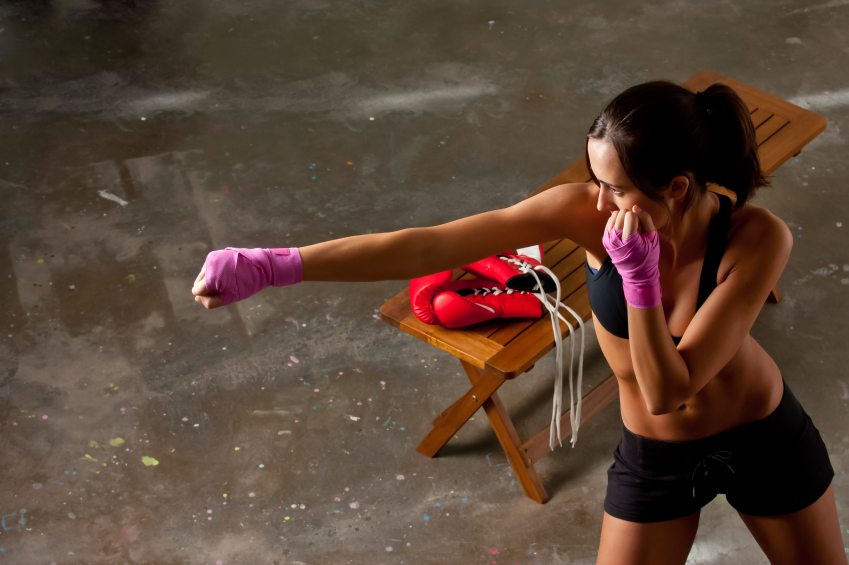 Woman practicing boxing moves