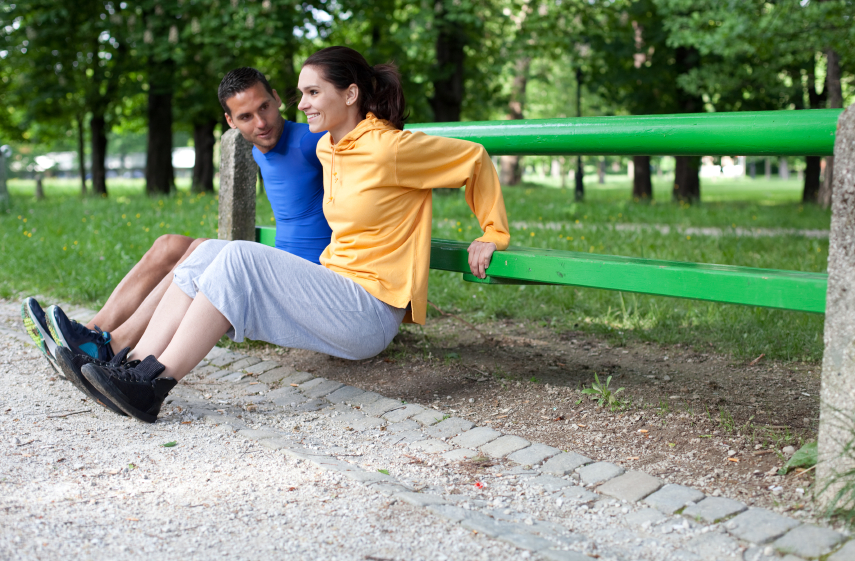 Couple exercising outdoors together