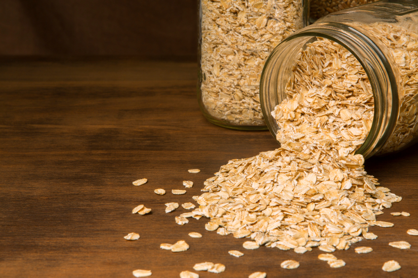 oats ouring onto a table