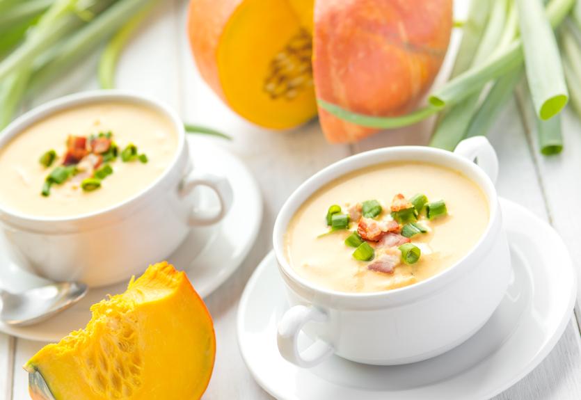 Pumpkin squash bacon soup