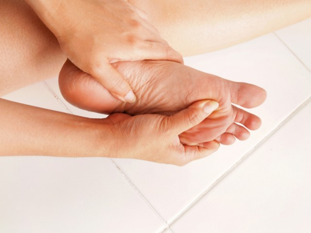 Person with foot pain