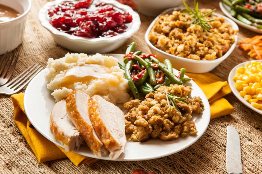 Turkey Thanksgiving Dinner, stuffing, potatoes, gravy