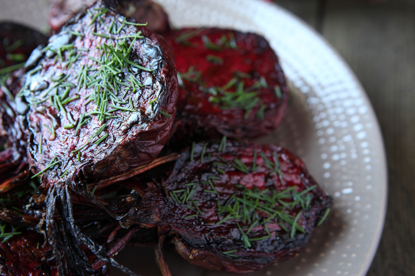 roasted beets with herbs