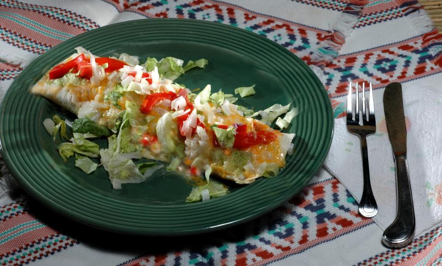 Enchilada, tortilla, lettuce