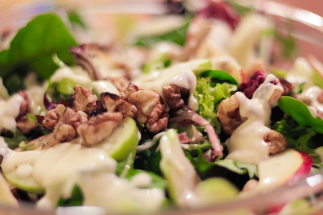 close-up of Waldorf salad
