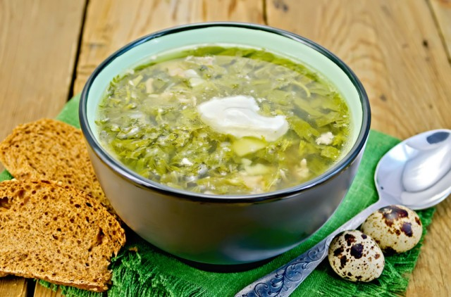 Green herb spinach soup