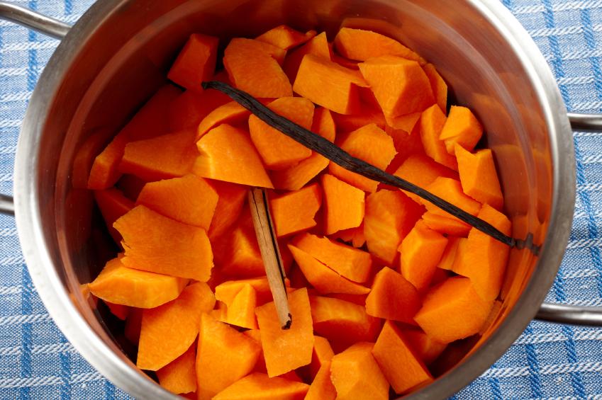 butternut squash in pot
